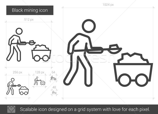 Stock photo: Black mining line icon.
