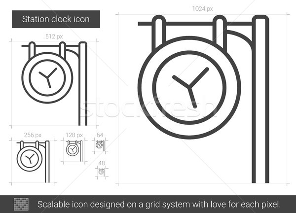 Station clock line icon  vector illustration © Andrei