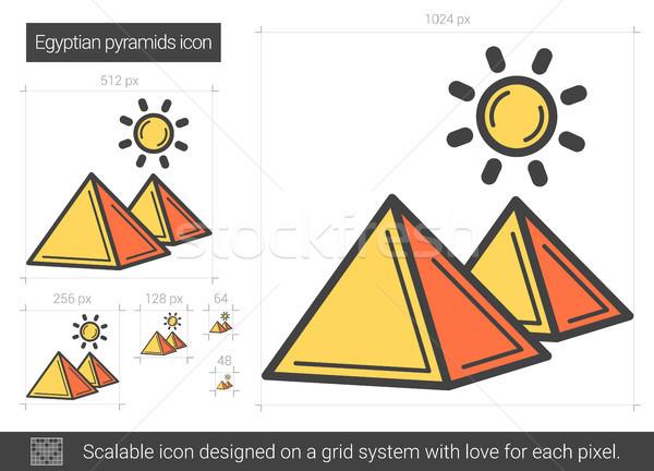 Egipcjanin piramidy line ikona wektora odizolowany Zdjęcia stock © RAStudio