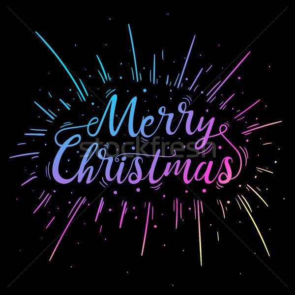 Hand lettered multicolored Merry Christmas text. Stock photo © RAStudio