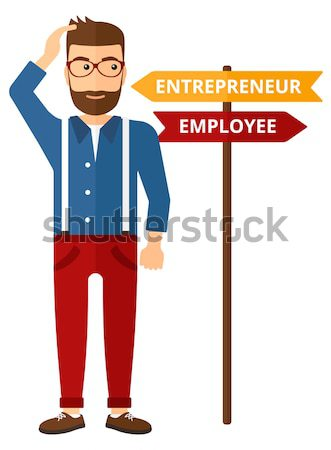 Confused hindu man choosing career pathway. Stock photo © RAStudio
