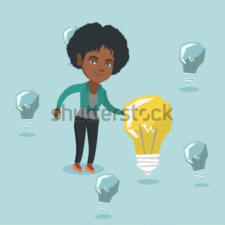 Young caucasian woman having business idea. Stock photo © RAStudio