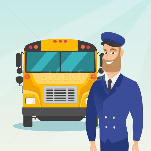 Jonge kaukasisch schoolbus bestuurder vrolijk permanente Stockfoto © RAStudio