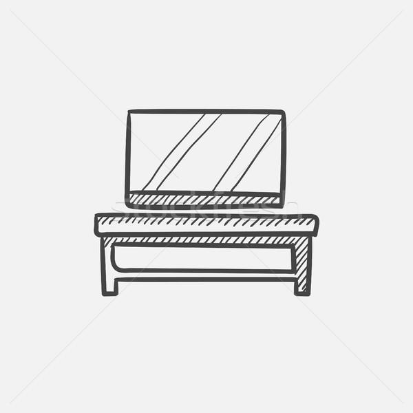 Stockfoto: Flatscreen · tv · moderne · stand · schets · icon