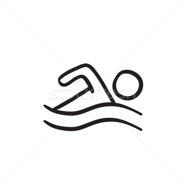 Pływak szkic ikona wektora odizolowany Zdjęcia stock © RAStudio