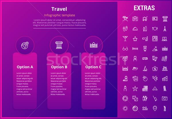 Seyahat şablon elemanları simgeler seçenekleri Stok fotoğraf © RAStudio
