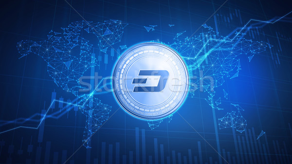 Dash coin on hud background with bull stock chart. Stock photo © RAStudio