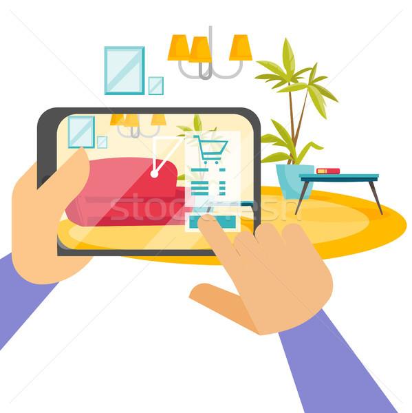 Handen tablet realiteit app menselijke Stockfoto © RAStudio