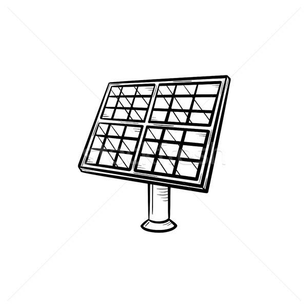 Zonnepaneel schets icon industrie schets Stockfoto © RAStudio