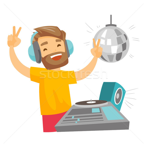 DJ mixing music on turntables vector illustration. Stock photo © RAStudio