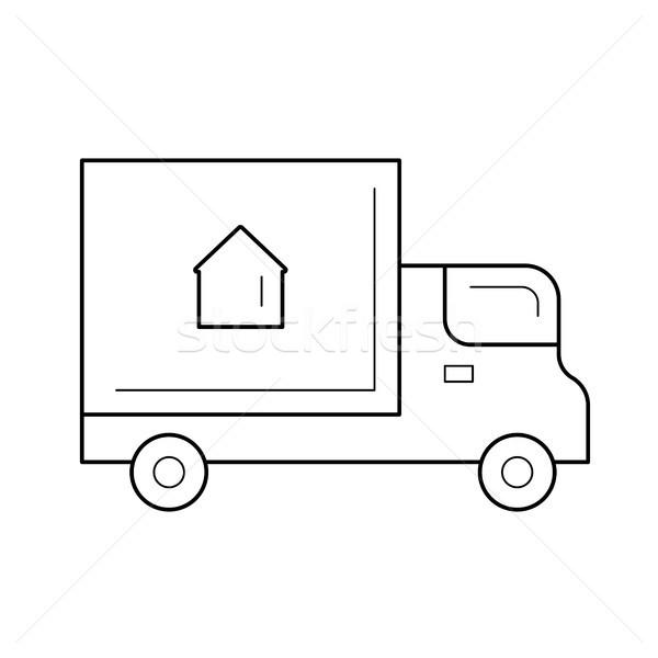 Kisteherautó vonal ikon vektor izolált fehér Stock fotó © RAStudio