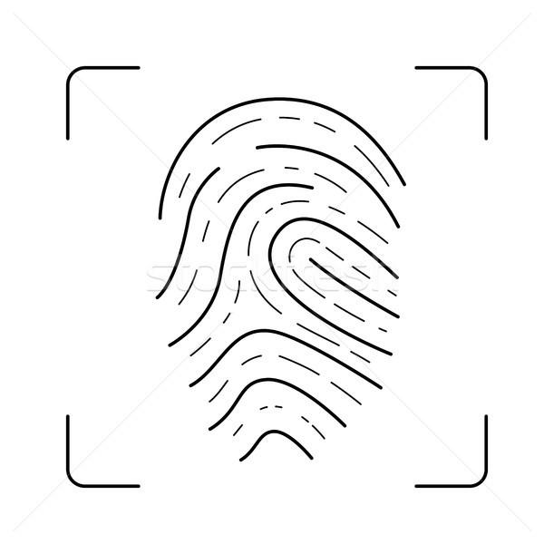сканирование отпечатков пальцев линия икона вектора изолированный Сток-фото © RAStudio