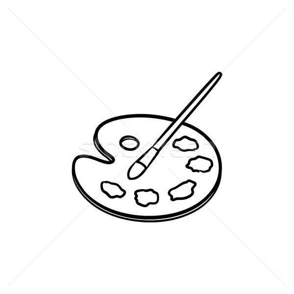 Paletine Firca Boya Kroki Ikon Vektor Ilustrasyonu