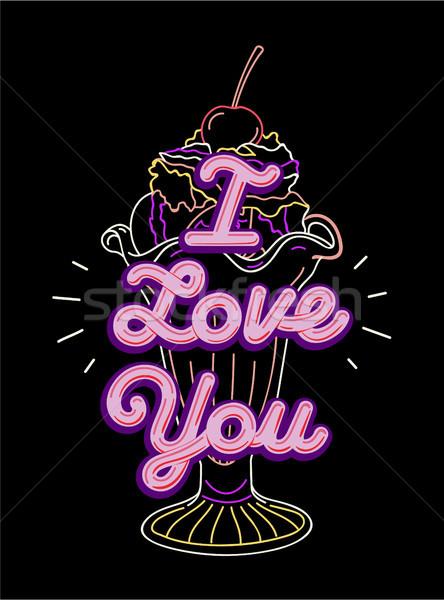 Sevmek tshirt baskı nakış grafik matbaacılık Stok fotoğraf © RAStudio