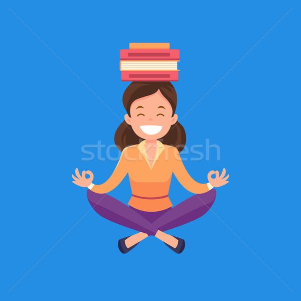 Business woman meditating in lotus position. Stock photo © RAStudio