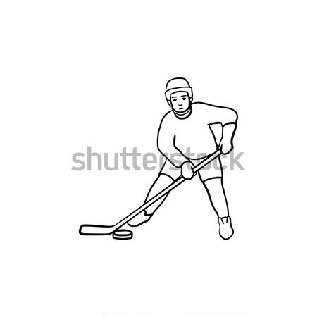 Hockey player hand drawn outline doodle icon. Stock photo © RAStudio
