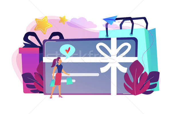 Tarjeta de regalo arco cinta caja de regalo mujer amoroso Foto stock © RAStudio