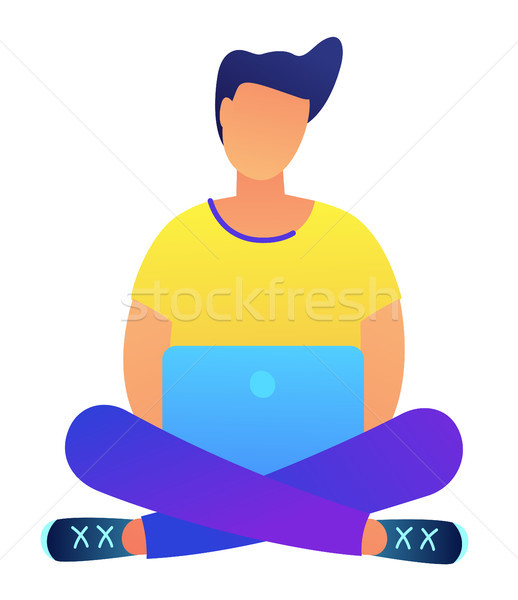 Dark haired programmer with laptop in lotus pose vector illustration. Stock photo © RAStudio