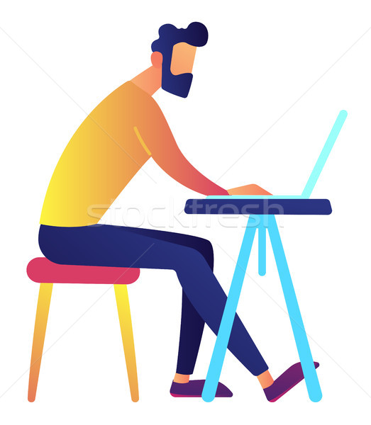 Mężczyzna specjalista pracy laptop biurko Zdjęcia stock © RAStudio