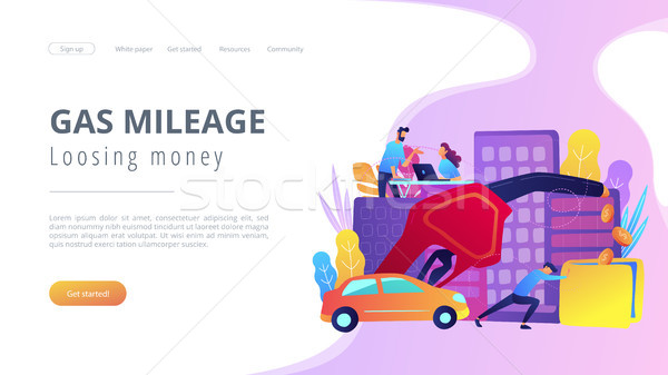 Gas mileage and losing money landing page. Stock photo © RAStudio
