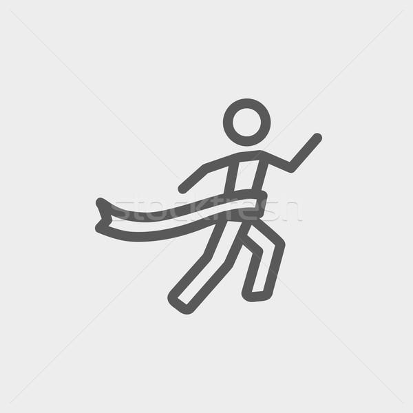 Nyertes célszalag vékony ikon vonal háló Stock fotó © RAStudio