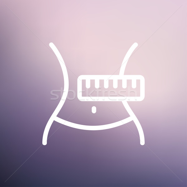 Slimming Belly with Measuring Tape thin line icon Stock photo © RAStudio