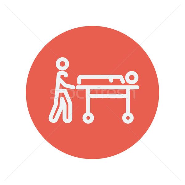 Man pushing the stretcher with sick person thin line icon Stock photo © RAStudio