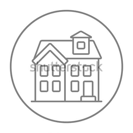 Two storey house building thin line icon Stock photo © RAStudio
