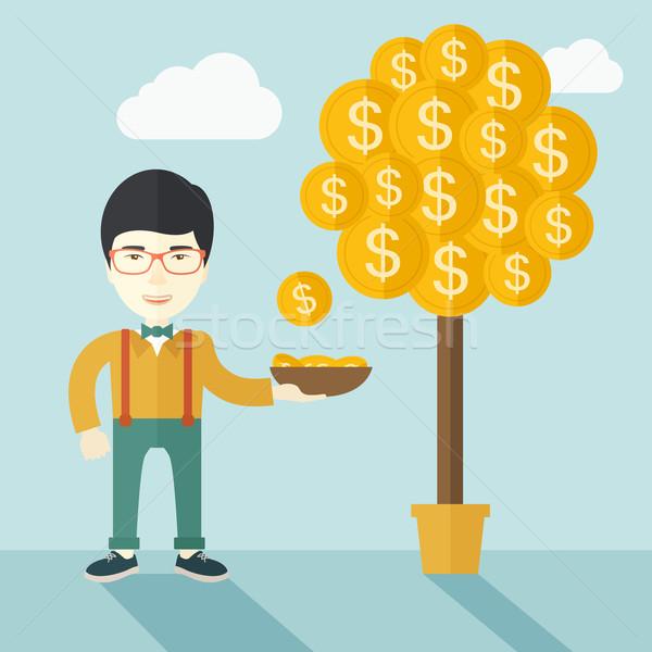 Sikeres kínai üzletember áll dollár érme Stock fotó © RAStudio