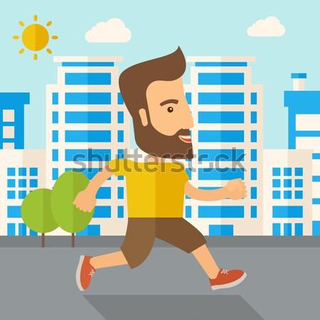 Man do jogging under the heat of sun Stock photo © RAStudio