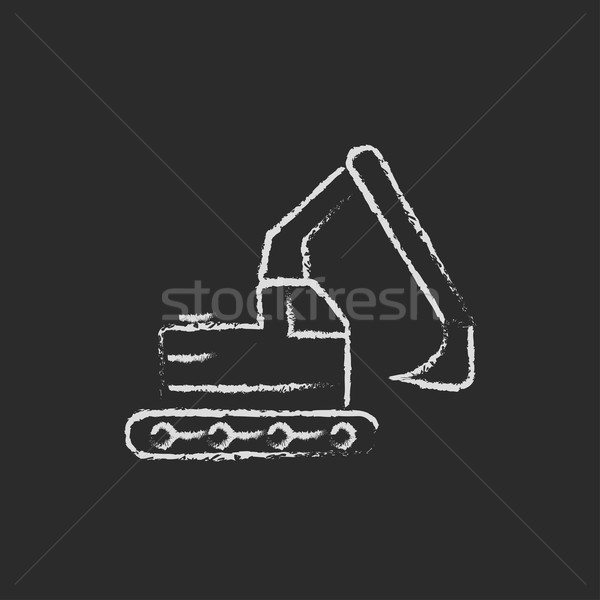 Kotrógép ikon rajzolt kréta kézzel rajzolt iskolatábla Stock fotó © RAStudio