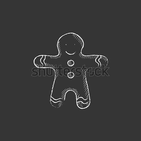 Stock photo: Gingerbread man icon drawn in chalk.