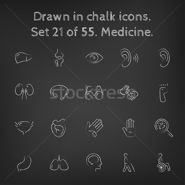 Medicine icon set drawn in chalk. Stock photo © RAStudio