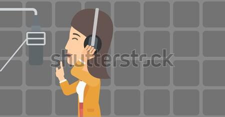 Cantante estudio alegre Asia registro voz Foto stock © RAStudio