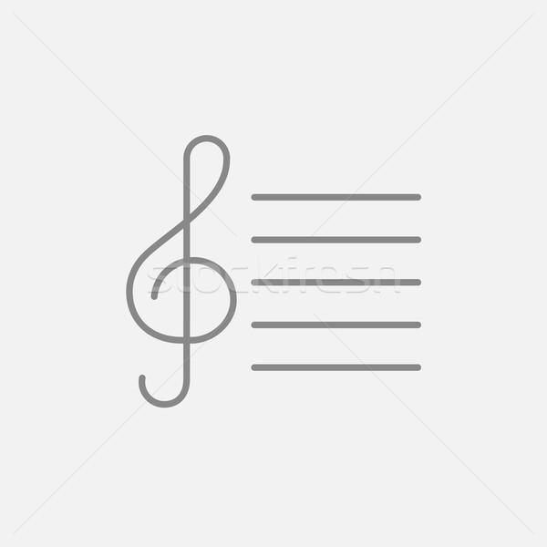 Treble clef line icon. Stock photo © RAStudio