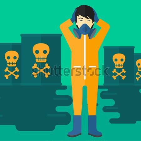женщину химического костюм голову Постоянный токсичный Сток-фото © RAStudio