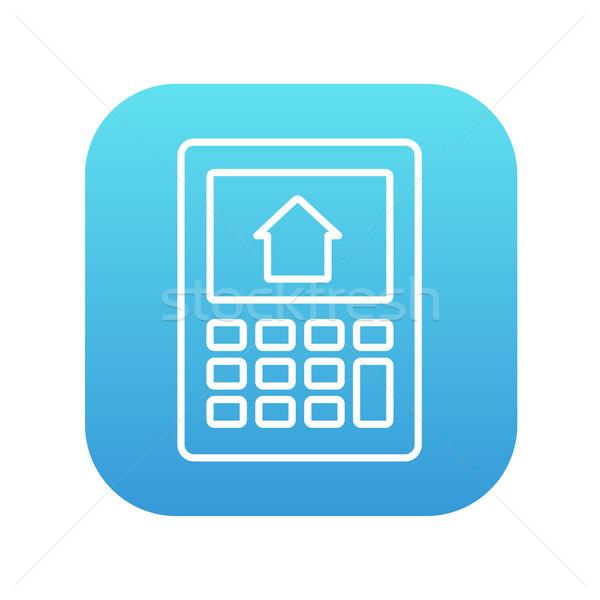 Сток-фото: калькулятор · дома · отображения · линия · икона · веб