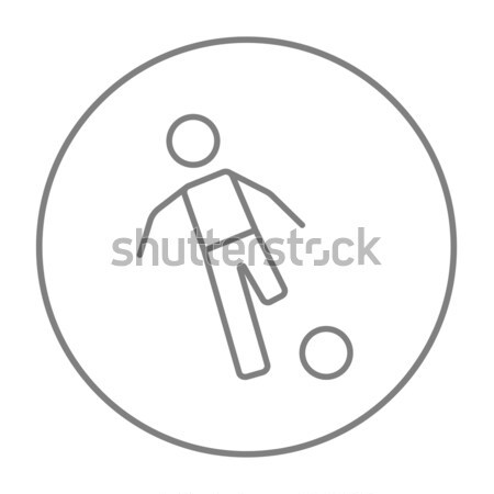 Soccer player with ball line icon. Stock photo © RAStudio