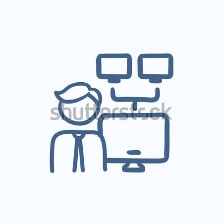 Rede administrador linha ícone homem teia Foto stock © RAStudio