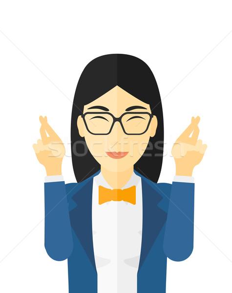 Esperanzado mujer dedos vector diseno Foto stock © RAStudio