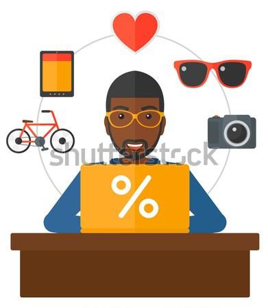 Customer with laptop. Stock photo © RAStudio