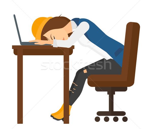 Stock fotó: Nő · alszik · munkahely · fáradt · alkalmazott · laptop · billentyűzet
