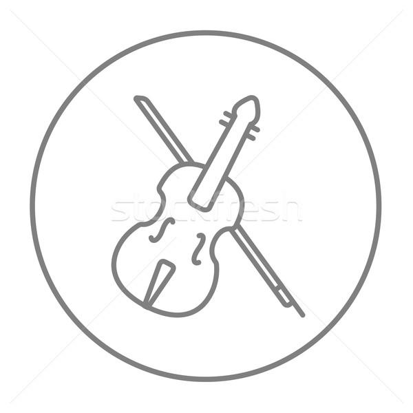 Violin with bow line icon. Stock photo © RAStudio