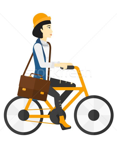 Kadın bisiklete binme çalışmak Asya vektör dizayn Stok fotoğraf © RAStudio
