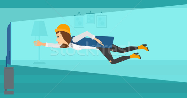 женщину страдание телевизор зависимость Flying экране Сток-фото © RAStudio