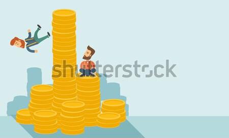деловой женщины сидят золото монетами Сток-фото © RAStudio