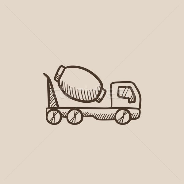 Concrètes mixeur camion croquis icône web Photo stock © RAStudio
