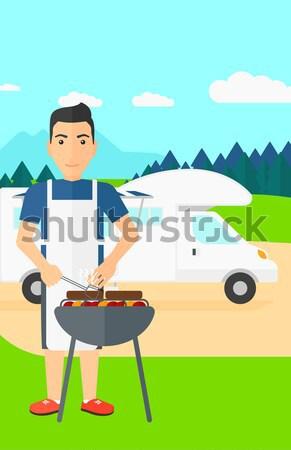 Stock fotó: Férfi · barbecue · ázsiai · erdő · vektor · terv