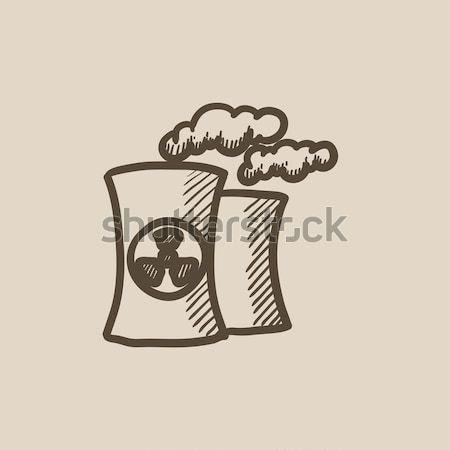Nukleáris erőmű vonal ikon sarkok háló Stock fotó © RAStudio