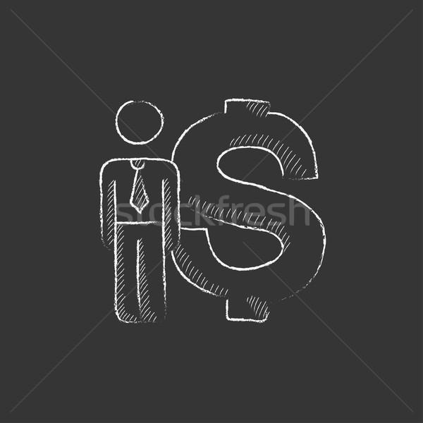 Zakenman permanente naast dollar symbool Stockfoto © RAStudio